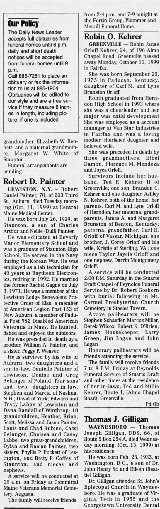 Robert Daniel Painter obit