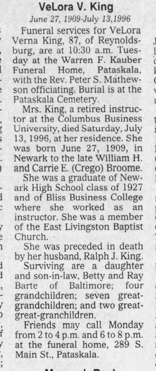 VELORA V MCCALLISTER BROOME KING OBIT  The Newark Advocate Pg 6 - Wal-honding self-employed VeLora V. King June...