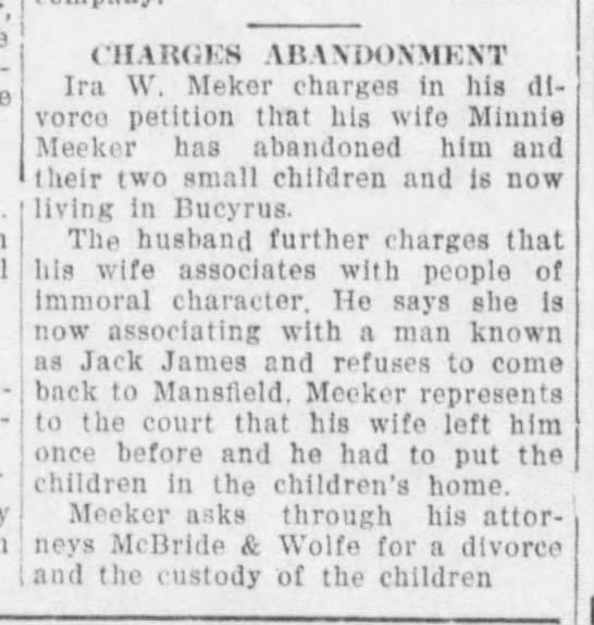 Ira W. Meeker divorce petition wife has abandoned him and two children - ! CHANGES ABAXDOXMEXT Ira W. Mekor charges in...