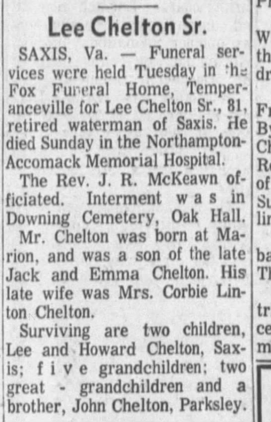 - LeeCheltonSr. SAX1S, Va. Funeral services...