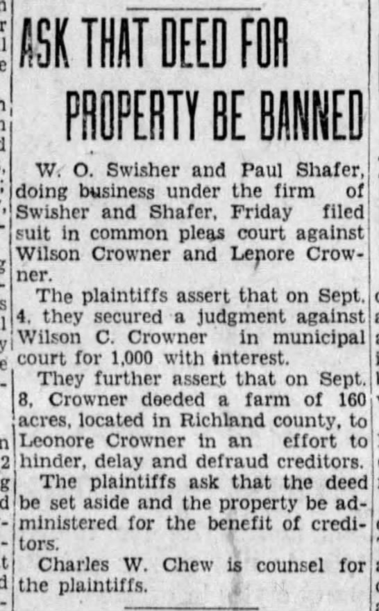 Wilson Crowner property - 19 oct 1928 Mansfield ohio - ' tsv THAT DEED roil g 11 , pH 0 pERT1 BE BAN!'...