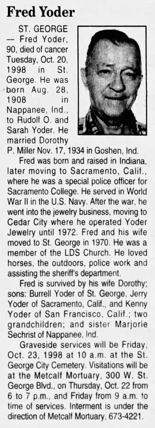 - Fred Yoder ST. GEORGE Fred Yoder, 90, died of...