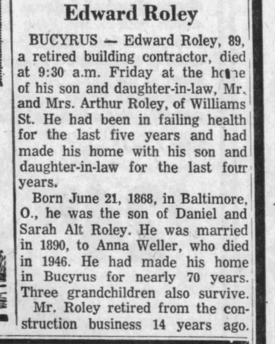 - j Edward Roley BUCYRUS - Edward Roley, 89, a...