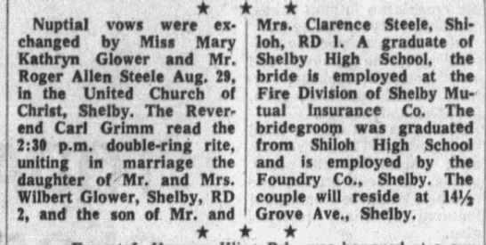 Wedding - Nuptial vows were ex Mrs. Clarence Steele,...