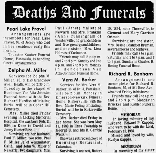 Zelpha obit - Pearl Lake Fravel Arrangements are incomplete...
