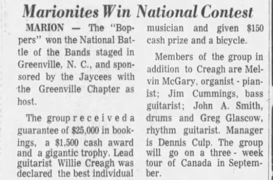 """Mansfield News-Journal Sept 3, 1973 Bopper - National Battle of the Bands - MARION --- --- --- The """"Boppers"""" """"Boppers"""" won..."""
