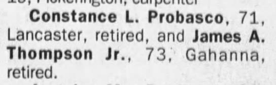 Constance Leota Probasco(Broyles) and John A Thompson marriage license - Constance L. Probasco, 71, Lancaster, retired,...