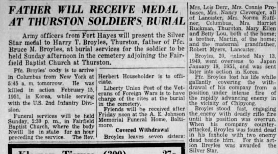 Harry T. Broyles receives WWII medal for son, Bruce - FATHER WILL RECEIVE MEDAL , -AT -AT THURSTON...