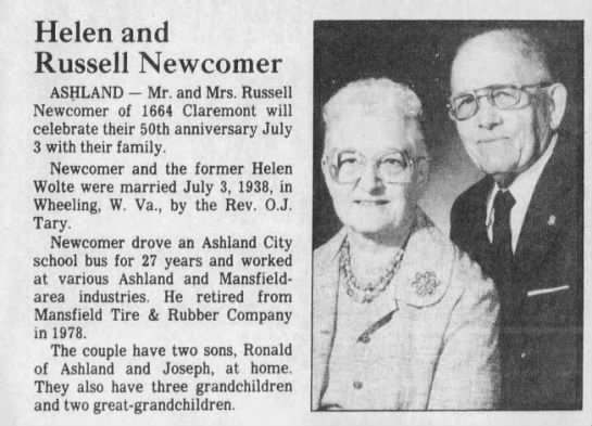 Russell & Helen Mae (Woltz) Newcomer 50th wedding anniversary. *3 Jul 1988* - Helen and Russell Newcomer ASHLAND - Mr. and...