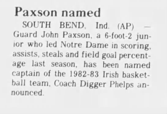 - Paxson named SOUTH BEND, Ind. (AP) Guard John...