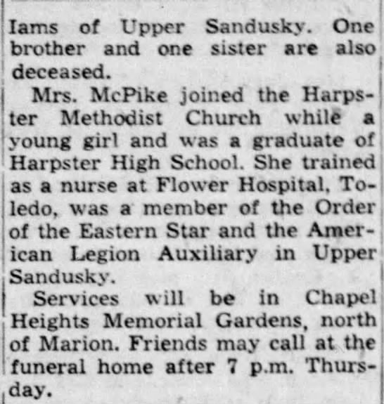 Ruby McPIke Obit Part 2 Marion Star May 29 1952
