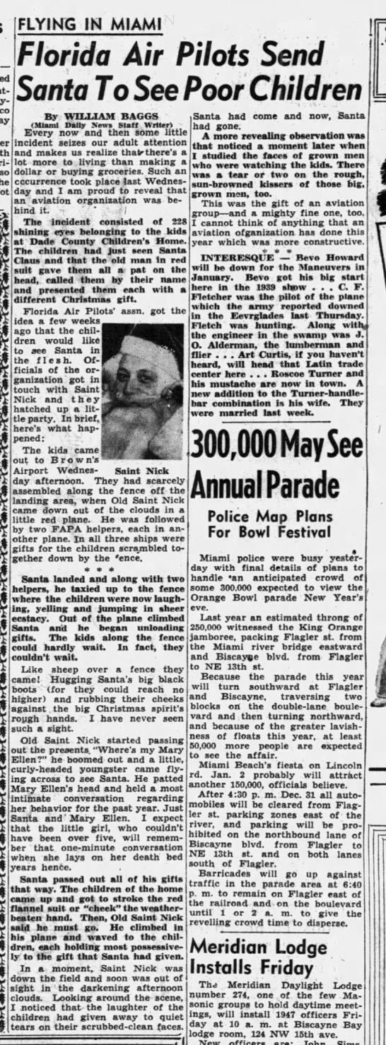 Baggs_Dec_22nd_1946_Santa_Pilots_FIMcol - FLYING IN MIAMI 1 Florida Air Pilots Send Santa...