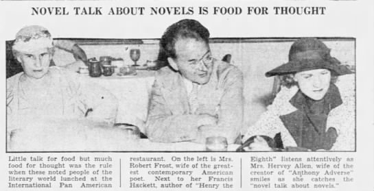 RF to Lankes Feb 8, 1936. Item from the Miami News (2/14/1936). - NOVEL TALK ABOUT NOVELS IS FOOD FOR THOUGHT ' ....