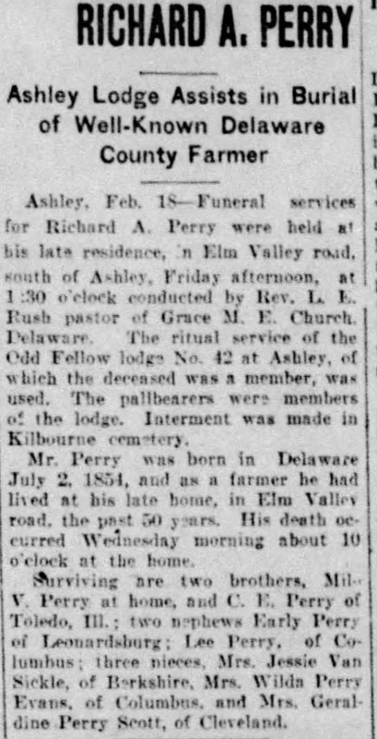 - RICHARD A. PERRY Ashley Lodge Assists in Burial...