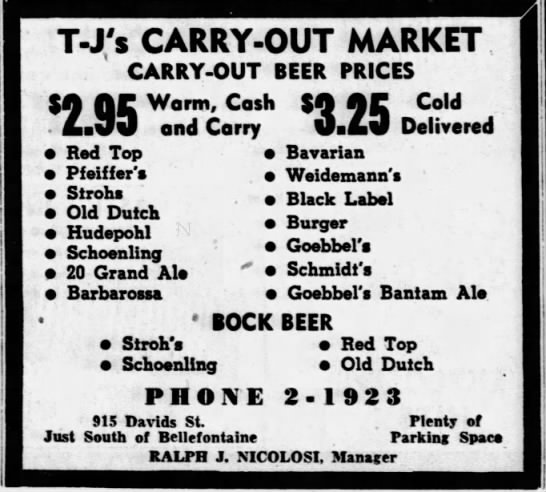 Goebbels Beer ad March 1954 - T-J,'s T-J,'s T-J,'s CARRY-OUT CARRY-OUT...