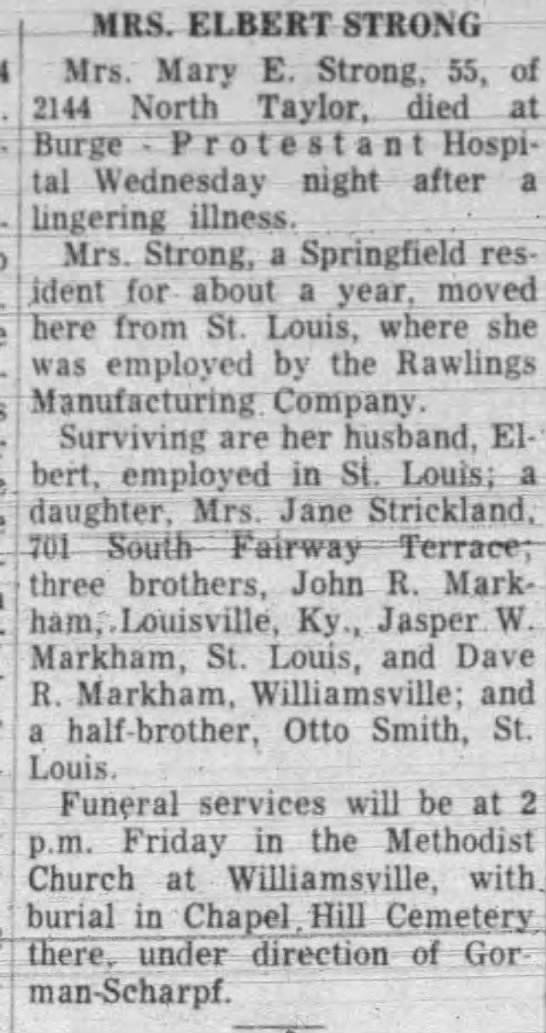 Obit-Mary Markham Strong - f - Spring- lingering illness. ....... .-. .-....