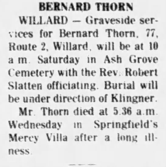 Bernard Thorn death notice