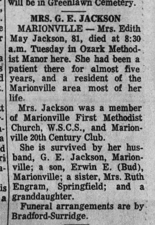 Edith May COWLES Jackson obit - Por- a a will be in Greenlawn Cemeterv. MRS. G....