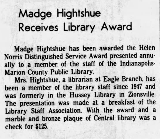 Madge, library award, 1982 - Madge Hightshue Receives Library Award Madge...