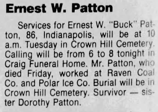 "- Ernest W. Patton Services for Ernest W. ""Buck""..."