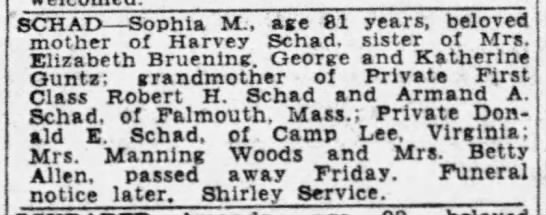 Sophia Schad - SCHAI) Sophia M-, M-, M-, age 81 years, beloved...