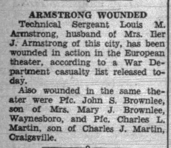 - ARMSTRONG WOUNDED Technical Sergeant Louis M....