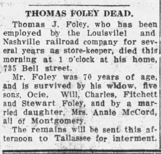 Thomas Foley Dead - THOMAS FOLEY DEAD. Thomas J. Foley, who has...