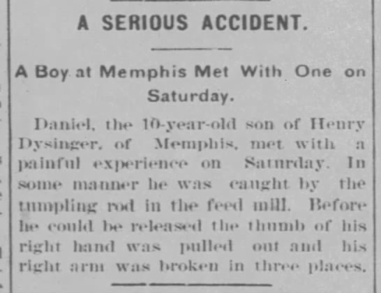 - A SERIOUS ACCIDENT. A Boy at Memphis Met With...