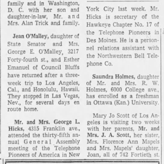 George L Hicks Telephone - family and in Washington, D. C. with her son...