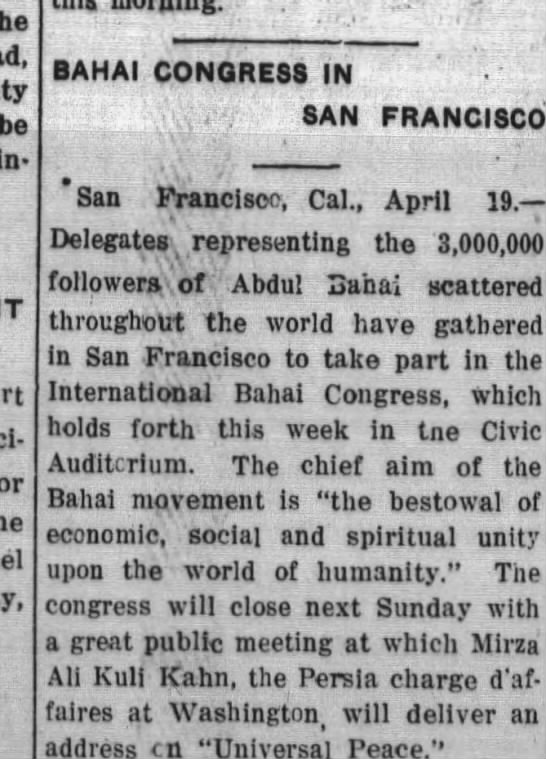 Baha'is gather in SF for Congress; Ali Kuli Khan - j en- A to Po- to EmmmamammSSmm I and half in...