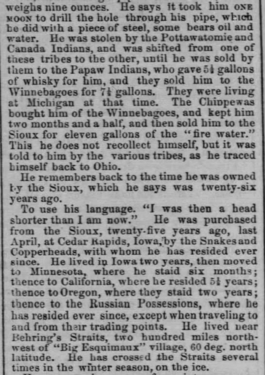 Chicago Tribune 3 - son kidnapped by indians - weighs nine ounces. He says it took him one...