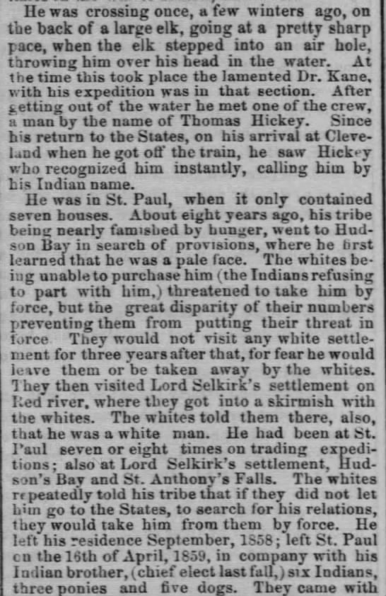 Chicago Tribune 4 - son kidnapped by indians - He was crossing once, a few winters ago, on the...