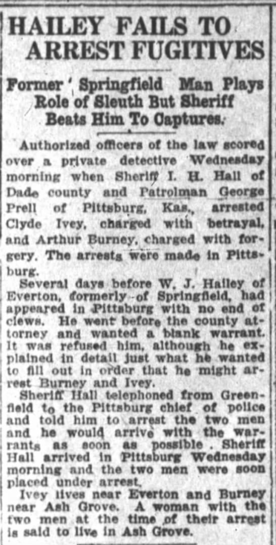 Clyde IVEY arrest 1915 - IIAILEY FAILS TO ARREST FUGITIVES Former '...