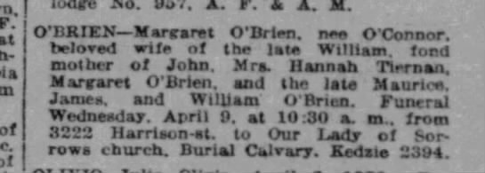 Margaret O'Brien Obituary (Maurice's Mom) - Chicago Tribune_DOD - April 6, 1930 - F. at of of OBRTENMartranat O'Drien. nee...