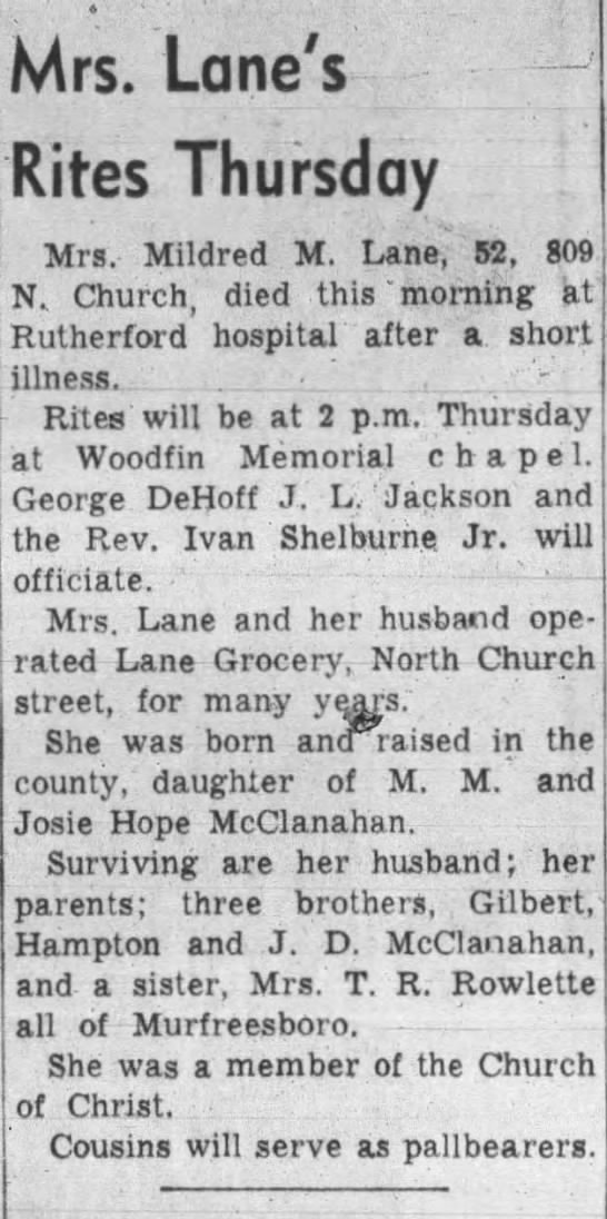 Obituary - Mildred (McClanahan) Lane - Mrs. Lane's Rites Thursday Mrs. Mildred M....