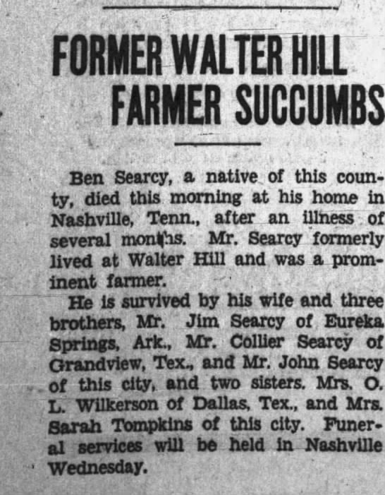 Ben Searcy Obituary - FORMER WALTER HILL FARMER SUCCUMBS TKpn...