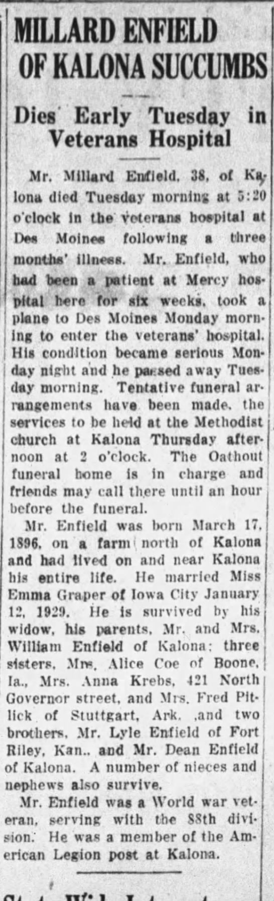 "- MILLARD ENFIELD OF KALONA SUCCUMBS Dies"" Early..."