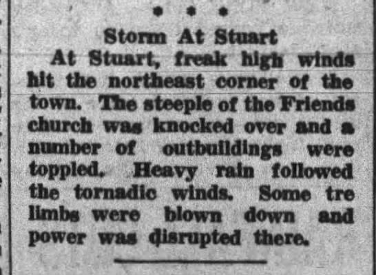 - Storm At Stuart At Stuart, freak high winds bit...