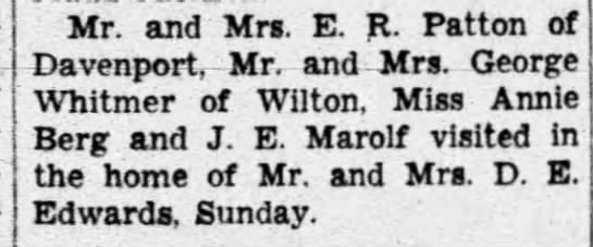 - Mr. and Mrs. E. R. Patton of Davenport, Mrr and...