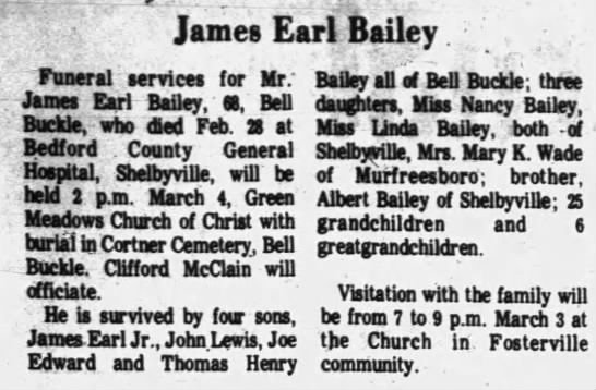 - James Earl Bailey Funeral services for Mr:...