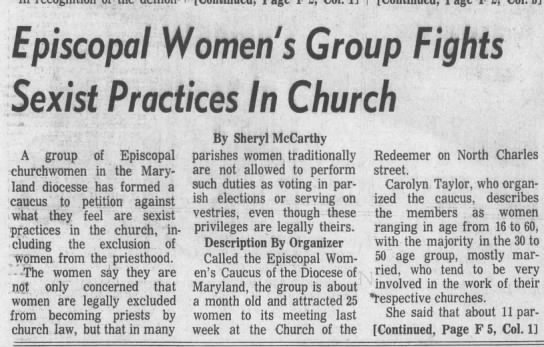 - Episcopal Women's Group Fights Sexist Practices...