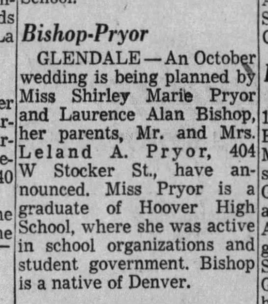 Engagement announcement of Shirley Marie Pryor and Laurence Alan Bishop - 10-year- vice- Bishop-Pryor Bishop-Pryor...