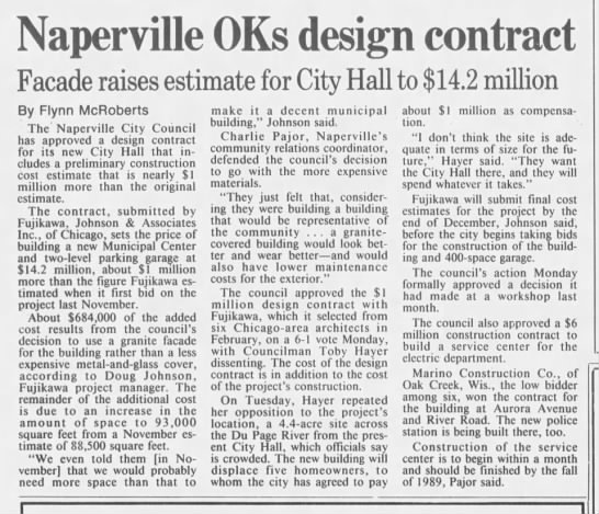 - Naperville OKs design contract Facade raises...
