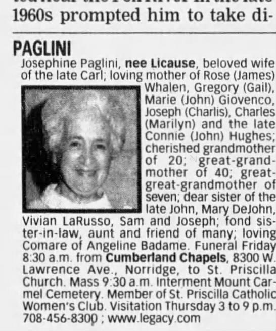 - 1960s prompted him to take di PAGLINI Josephine...