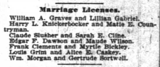 Marriage License Notice - Marriage Licenses.' . ? ' ' William A. Graves...