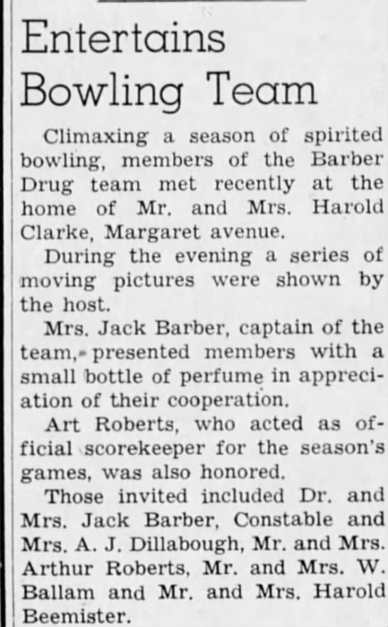 Arthur John Roberts Bowling - Entertains Bowling Team Climaxing a season of...