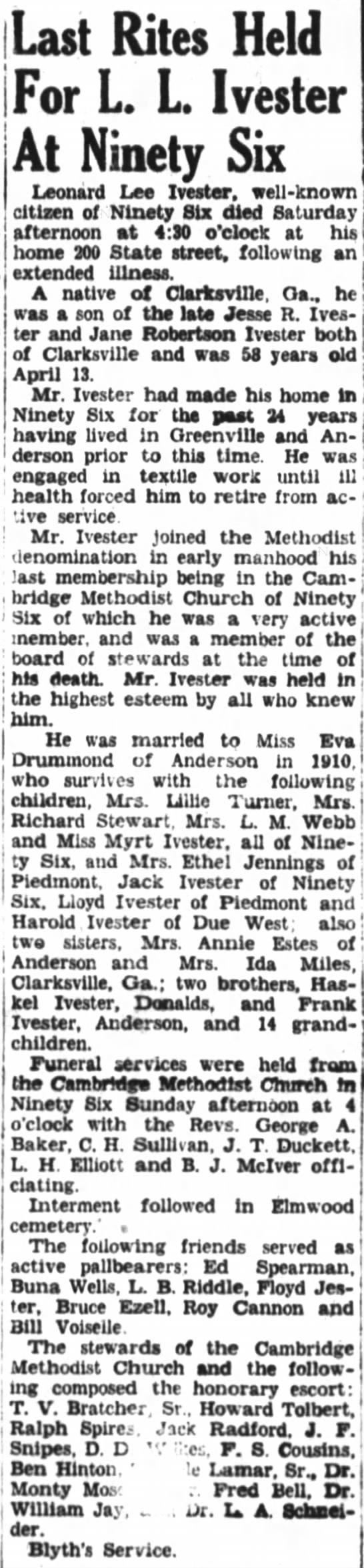 - Last Rites Held For L. L. Ivester At Ninety Six...