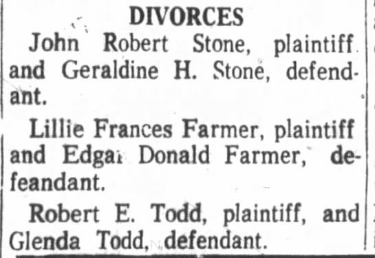 - I; DIVORCES John' Robert Stone, plaintiff, and...