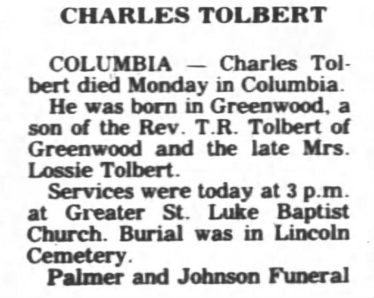 Obituary for Charles Tolbert