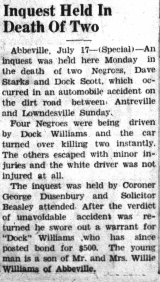 Daniel Dock Scott proof of death - Inquest Held In Death Of Two , Abbeville. July...